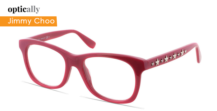bd435f887767 Jimmy Choo glasses frames with embellishments on the arms. These are  Wayfarers frames and are perfect for oval face shape. This one is from our  collection ...